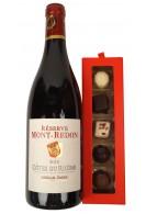 1 flaske fransk rødvin og fyldte luxus chokolader