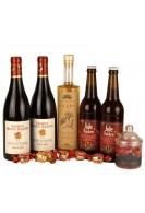 Gavepakke med fransk rødvin, snaps og dansk øl