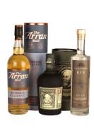 1 fl. whisky, 1 fl. rom og 1 fl. gin