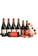 Gavepakke med rødvin, øl, portvin og luxuschokolade